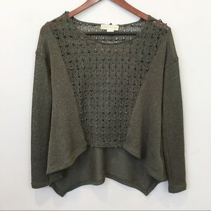 Staring at Stars Crochet Panel Knit Sweater Top